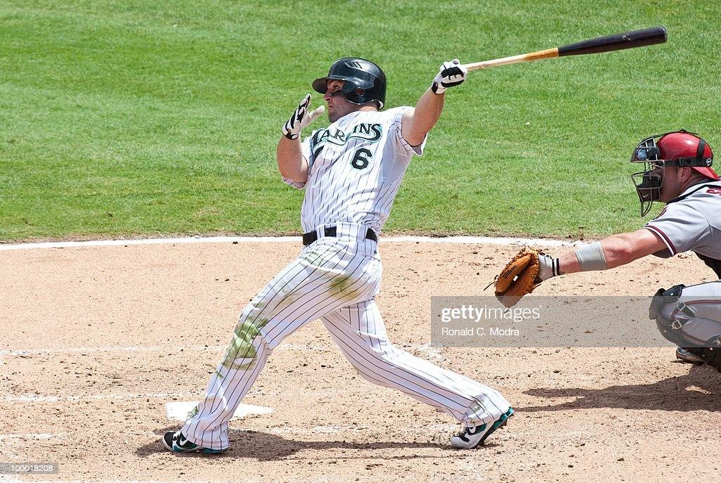 Dan Uggla #6 of the Florida Marlins bats during a MLB game against the Arizona Diamondbacks in Sun Life Stadium on May 18, 2010 in Miami, Florida.