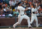 Dan Uggla of the San Francisco Giants bats against the Los Angeles Dodgers in the bottom of the fourth inning at ATT Park on July 27 2014 in San...