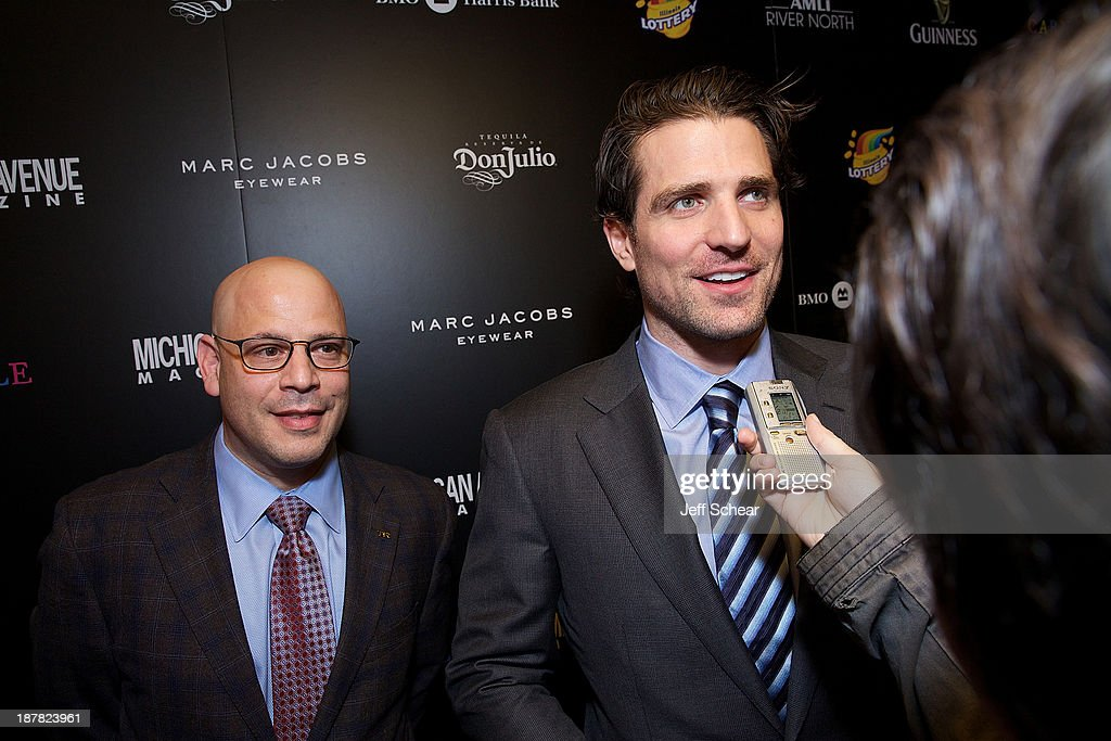 Dan Uslan, President and Publisher of Michigan Avenue Magazine, and Patrick Sharp attend Michigan Avenue Magazine November Cover Celebration Hosted By Chicago Blackhawks' Patrick Sharp & Patrick Kane at Carnivale on November 12, 2013 in Chicago, Illinois.