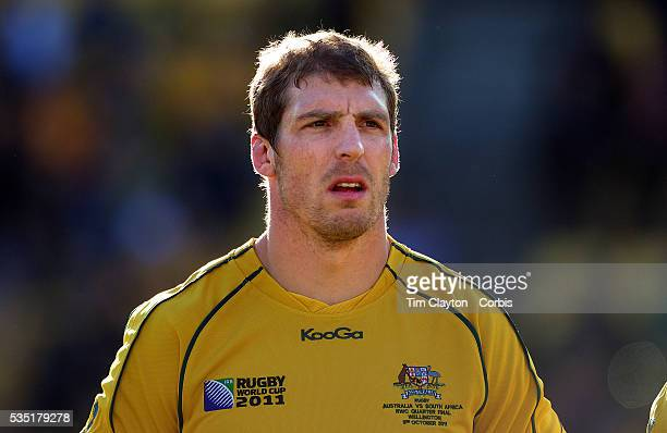 Dan Vickerman Australia during the teams national anthems before the South Africa V Australia Quarter Final match at the IRB Rugby World Cup...