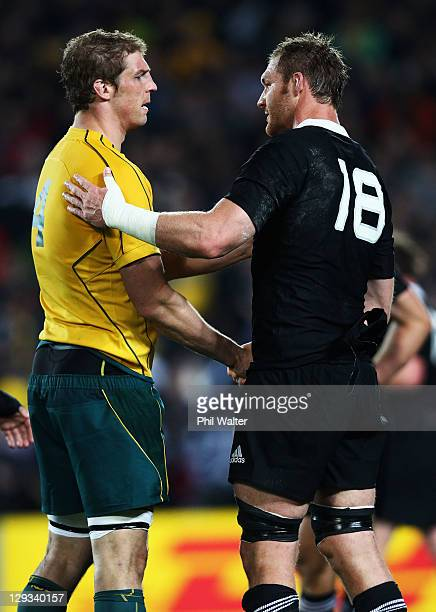 Dan Vickerman of the Wallabies shakes hands with Rob Simmons of the Wallabies after the semi final two of the 2011 IRB Rugby World Cup between New...