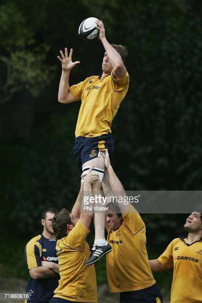 Dan Vickerman of the Wallabies takes the ball in the lineout during training at Auckland Grammar School August 17 2006 in Auckland New Zealand...