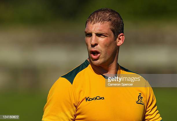 Dan Vickerman of the Wallabies talks to team mates during an Australia IRB Rugby World Cup 2011 training session at The Trusts Stadium on September 9...