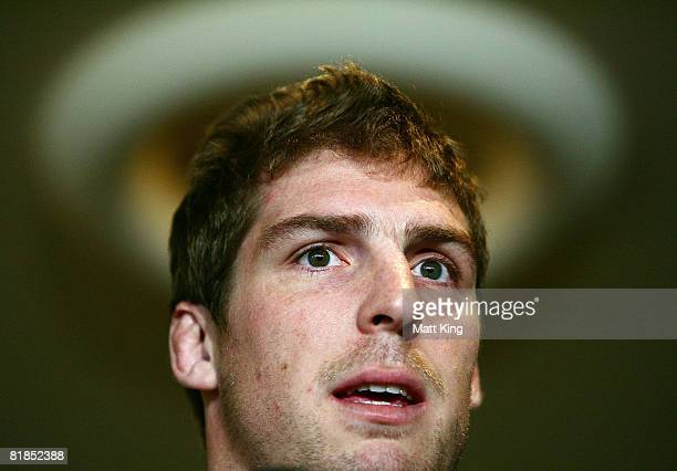 Dan Vickerman speaks to the media during an Australian Wallabies media session at the Manly Pacific Hotel on July 8 2008 in Sydney Australia