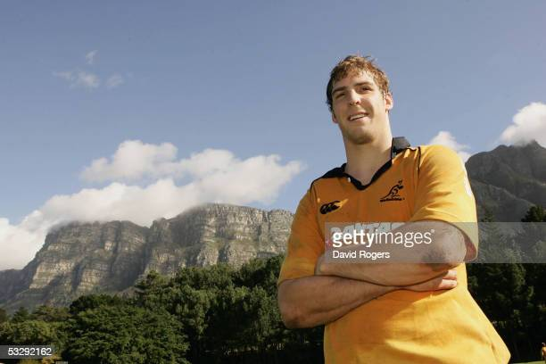 Dan Vickerman the Wallaby lock who was born in Cape Town is pictured in the shadow of Table Mountain the Wallaby training session held at Westerford...