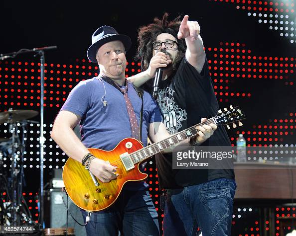 Dan Vickrey and Adam Duritz of Counting Crows perform at Bayfront Park Amphitheater on July 30 2015 in Miami Florida