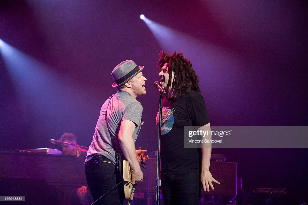 Dan Vickrey and Adam Duritz of Counting Crows performs at The Wiltern on November 24, 2012 in Los Angeles, California.