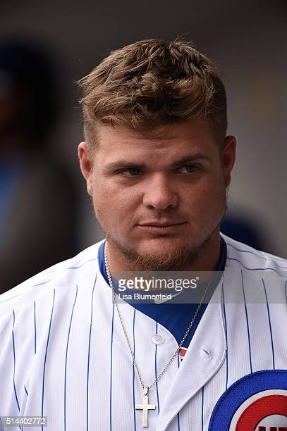 Dan Vogelbach of the Chicago Cubs looks on from the dugout during the game against the Cincinnati Reds on March 5 2016 in Mesa Arizona