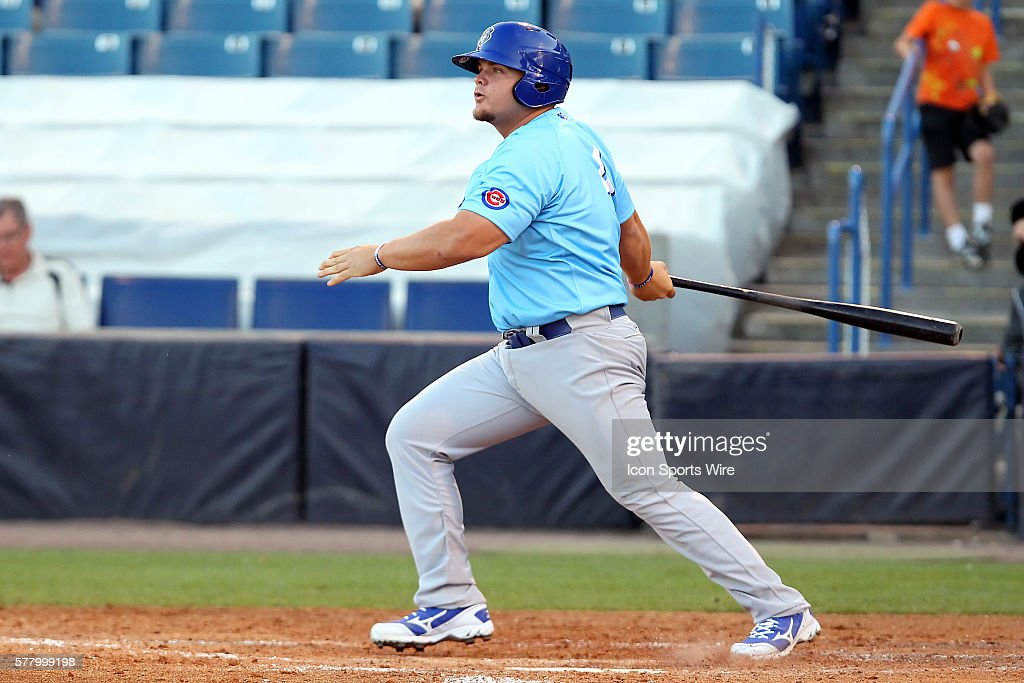 Dan Vogelbach of the Cubs at bat during the Florida State League game between the Daytona Cubs and the Tampa Yankees at George M. Steinbrenner Field in Tampa, Florida.