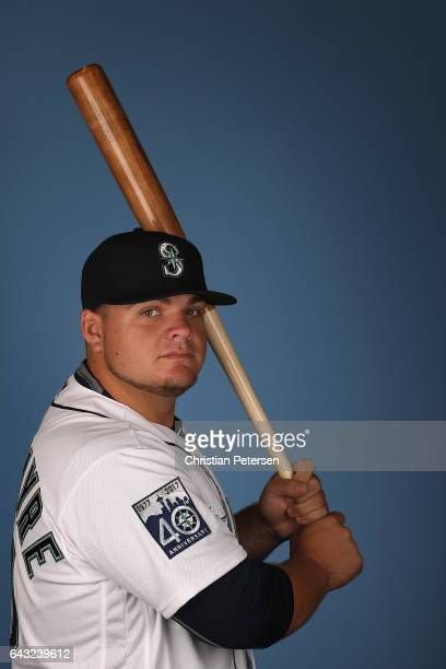 Dan Vogelbach of the Seattle Mariners poses for a portrait during photo day at Peoria Stadium on February 20 2017 in Peoria Arizona
