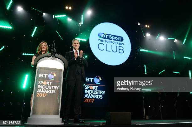 Dan Walker and Helen RichardsonWalsh present the Community Programme of the Year award in association with The Supporters Club during the BT Sport...