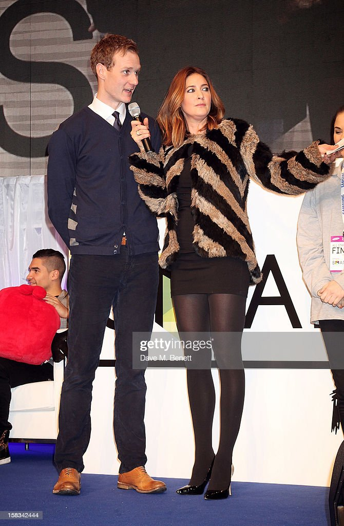 Dan Walker (L) and Lisa Snowdon attend the Samsung Smart TV Angry Birds Party at Westfield Stratford City on December 13, 2012 in London, England.