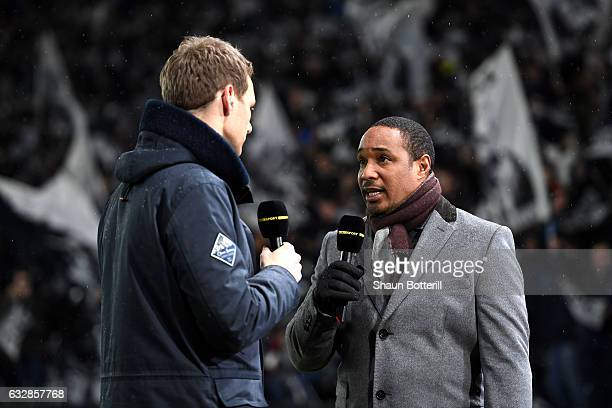 Dan Walker and Paul Ince speak prior to The Emirates FA Cup Fourth Round match between Derby County and Leicester City at iPro Stadium on January 27...