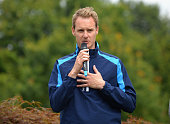 Dan Walker of the BBC speaking at the presentation ceremony during the Galvin Green PGA Assistants' Championship Day 3 at Coventry Golf Club on...