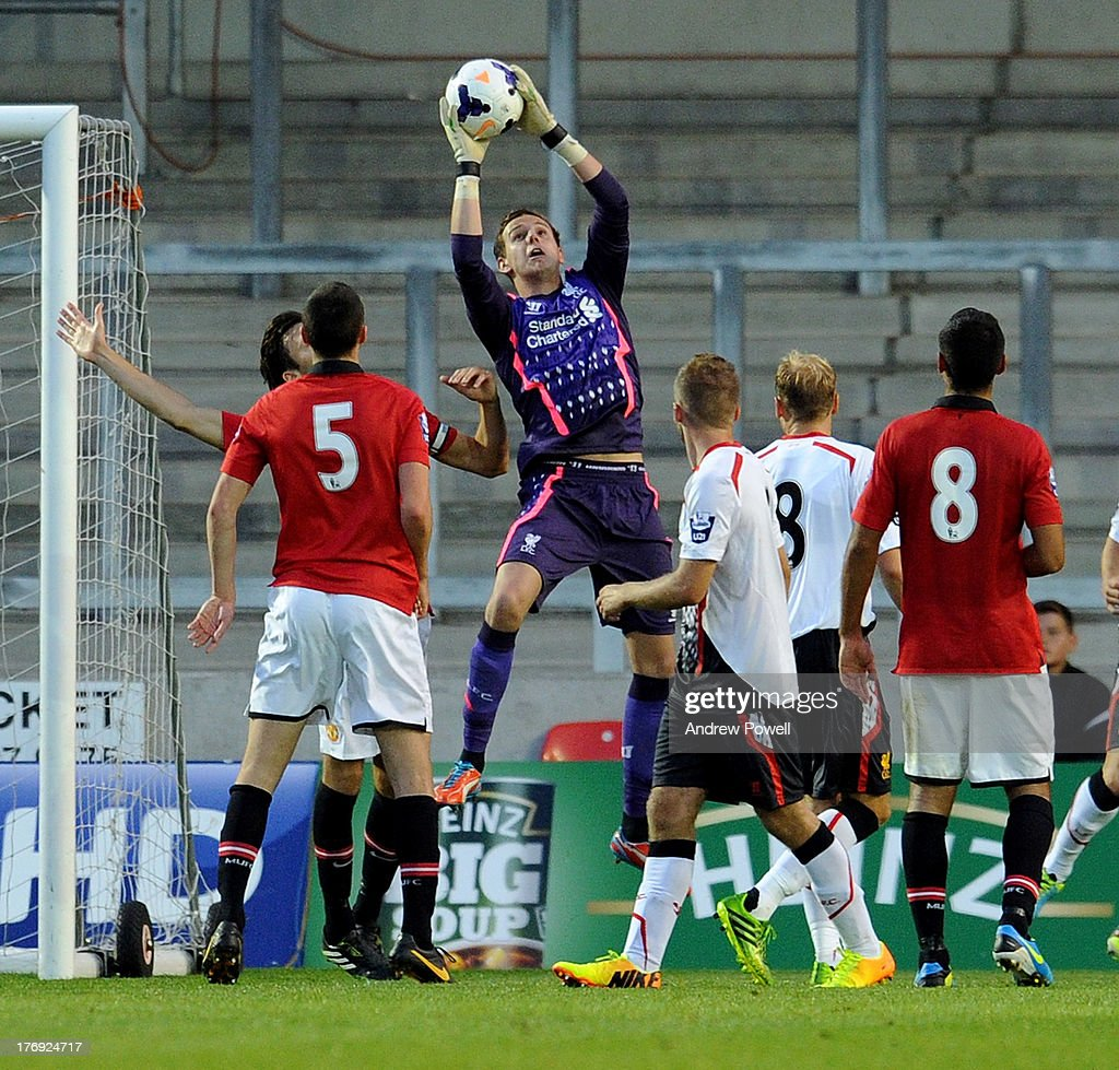 Dan Ward of Liverpool makes a save during the Barclays U21s Premier League match between Manchester United U21 and Liverpool U21 at Salford City Stadium on August 19, 2013 in Salford, England.