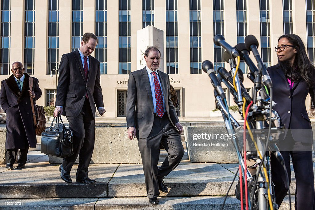 Dan Webb (C), the attorney for former Chicago alderman Sandi Jackson, leaves the U.S. District Court for the District of Columbia on February 20, 2013 in Washington, DC. Jackson and her husband, former Congressman Jesse Jackson, Jr., plead guilty to federal charges of spending more than $750,000 in campaign cash on personal expenses.