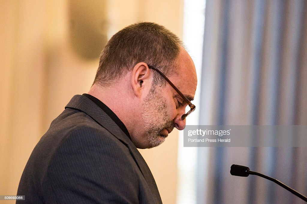 Dan Welch becomes emotional recounting a nickname his daughter, Alivia Welch, would call him during his testimony against James Pak during his sentencing hearing at the Superior Court in Alfred, MEon Thursday, Feb 11 2016.