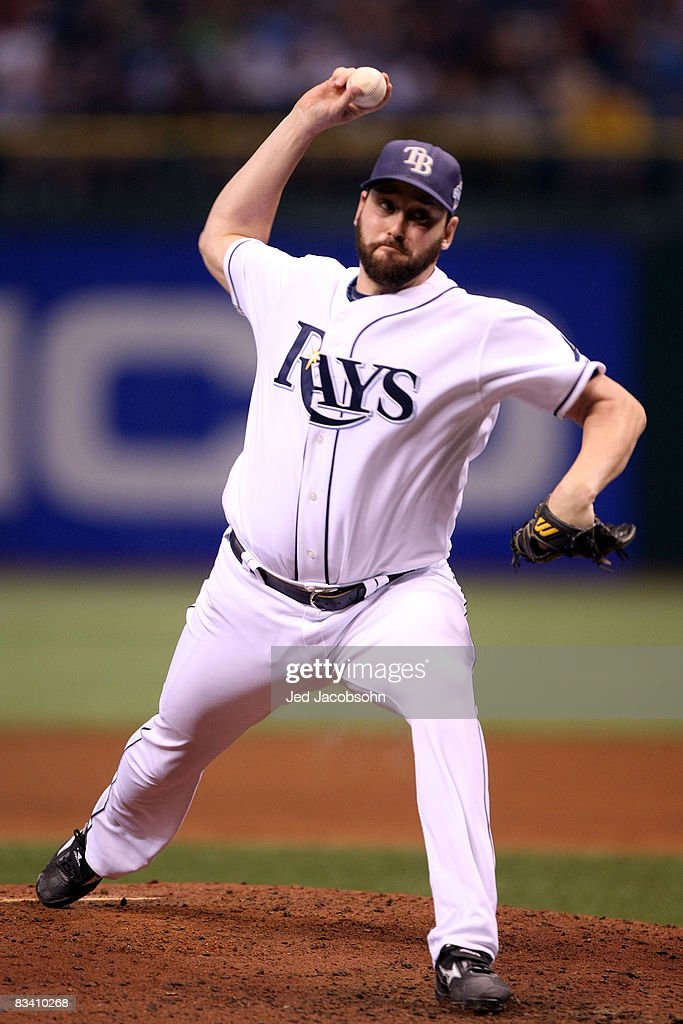 Dan Wheeler of the Tampa Bay Rays throws a pitch against the Philadelphia Phillies during game two of the 2008 MLB World Series on October 23 2008 at...