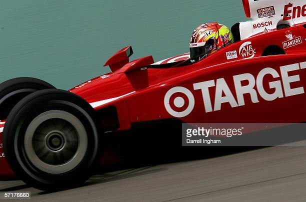Dan Wheldon driver of the Target Ganassi Racing Dallara Honda during practice for the IRL IndyCar Series Toyota Indy 300 on March 24 2006 at the...