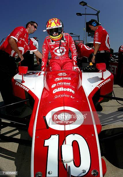 Dan Wheldon driver of the Target Ganassi Racing Dallara Honda during practice for the Indy Racing League IndyCar Series Meijer Indy 300 on August 12...