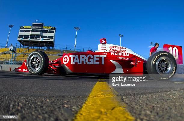 Dan Wheldon driver of the Target Ganassi Racing Dallara Honda wheel spins away during testing for the IRL Indycar Series on January 25 2006 at the...