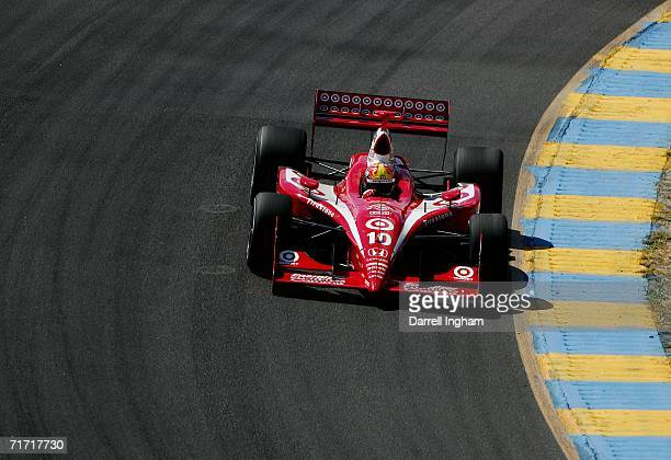 Dan Wheldon drives the Target Ganassi Racing Dallara Honda during practice for the IRL IndyCar Series Indy Grand Prix of Sonoma on August 25 2006 at...