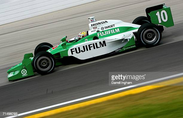Dan Wheldon drives the Target Ganassi Racing Fujifilm Dallara Honda during practice for the IRL IndyCar Series ABC Supply Company AJFoyt 225 on July...