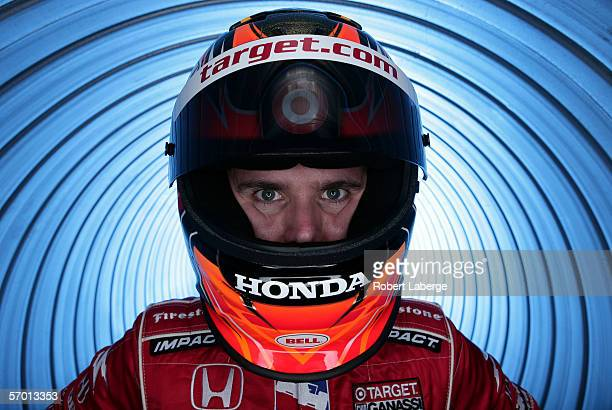 Dan Wheldon of England driver of the Target Chip Ganassi Racing Dallara Honda poses during the media day portrait session at the testing for the IRL...
