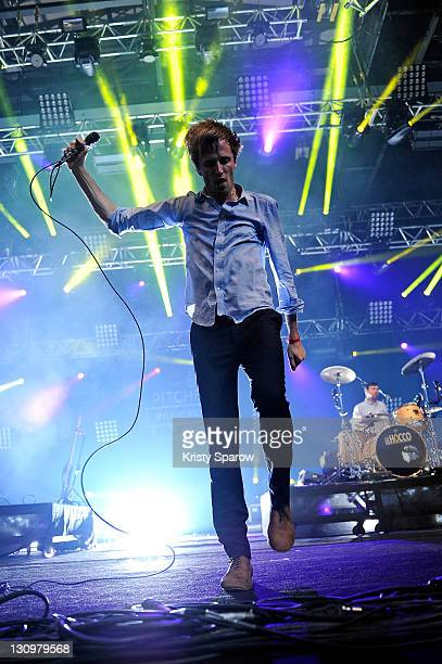 Dan Whitford of Cut Copy performs on stage during day one of the Pitchfork Music Festival at the Grande Halle de La Villette on October 28 2011 in...