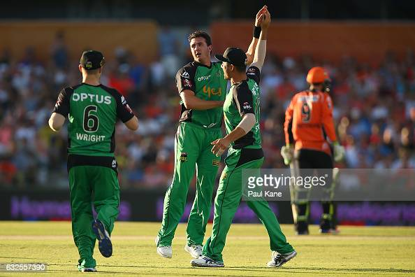 Dan Worrall of the Stars celebrates the wicket of Michael Klinger of the Scorchers during the Big Bash League match between the Perth Scorchers and...