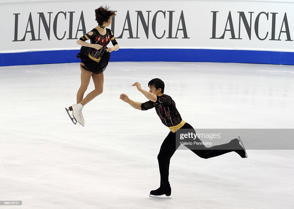 Dan Zhang and Hao Zhang of China compete in the Pairs Free Skating during the 2010 ISU World Figure Skating Championships on March 24, 2010 in Turin, Italy.