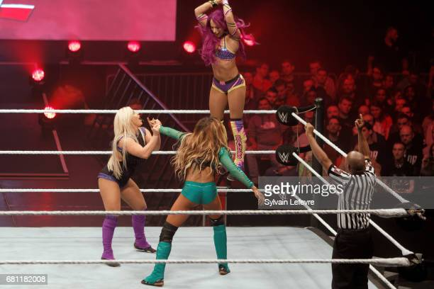 Dana Brooke fights against Alicia Fox and Sasha Banks during WWE Live 2017 at Zenith Arena on May 9 2017 in Lille France