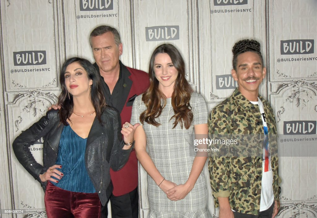 Dana DeLorenzo, Bruce Campbell, Arielle Carver-O'Neill and Ray Santiago attend Build series to discuss 'Ash Vs Evil Dead' at Build Studio on October 6, 2017 in New York City.