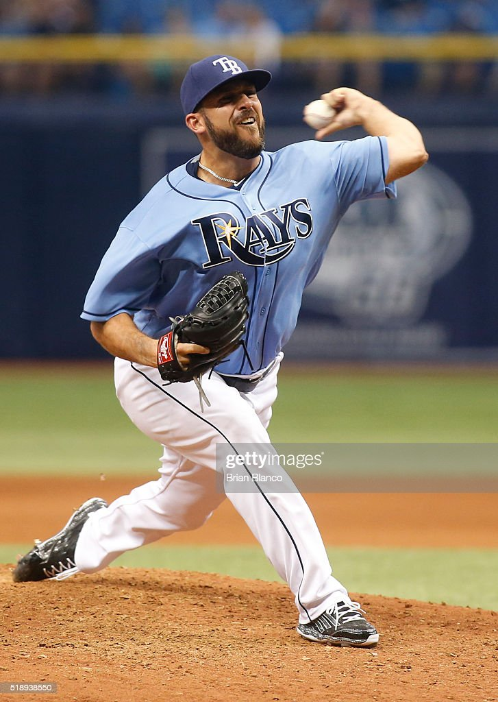 Dana Eveland #51 of the Tampa Bay Rays pitches during the ninth inning of a game against the Toronto Blue Jays on April 3, 2016 at Tropicana Field in St. Petersburg, Florida.