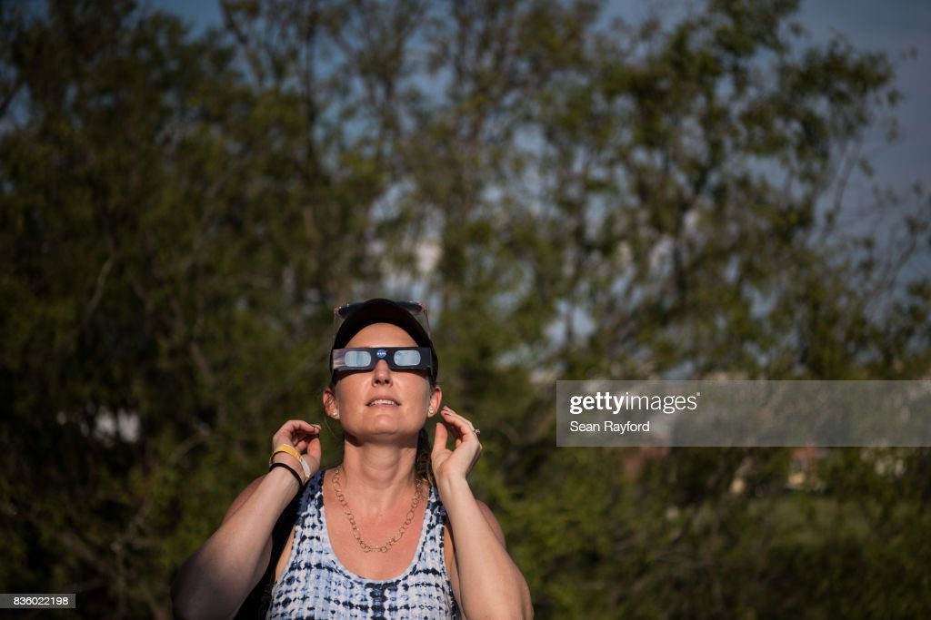 Dana Hamerschlag tests out a pair of eclipse glasses at the South Carolina State Museum August 20, 2017 in Columbia, South Carolina. Columbia is one of the prime destinations for viewing Monday's solar eclipse and NASA expects clear weather would bring over a million visitors to the state.