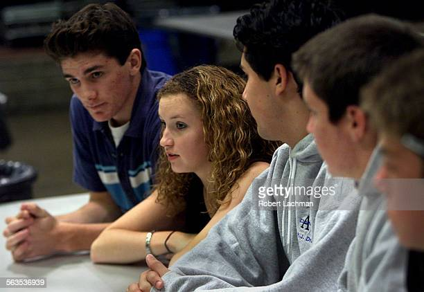 Dana Hills High School students Adam Jensen Sarah Rodgers AJ Dronkers and Holden Slusher talk with the LA Times reporter about API testing at the...
