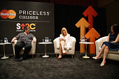Dana Pe'er Karen Taphorn and Linda Kirkpatrick speak on stage at the MasterCard 'Priceless® Conversation' to support Stand Up To Cancer with Katie...