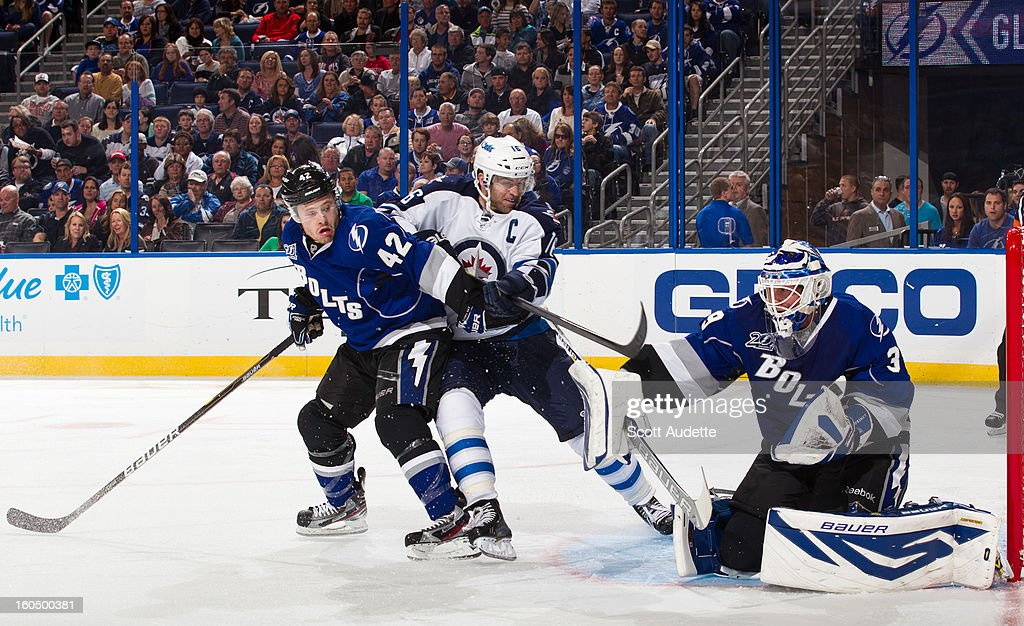 <a gi-track='captionPersonalityLinkClicked' href=/galleries/search?phrase=Dana+Tyrell&family=editorial&specificpeople=2129723 ng-click='$event.stopPropagation()'>Dana Tyrell</a> #42 of the Tampa Bay Lightning and <a gi-track='captionPersonalityLinkClicked' href=/galleries/search?phrase=Andrew+Ladd&family=editorial&specificpeople=228452 ng-click='$event.stopPropagation()'>Andrew Ladd</a> #16 of the Winnipeg Jets battle for position in front of goaltender Anders Lindback #39 during the second period of the game at the Tampa Bay Times Forum on February 1, 2013 in Tampa, Florida.