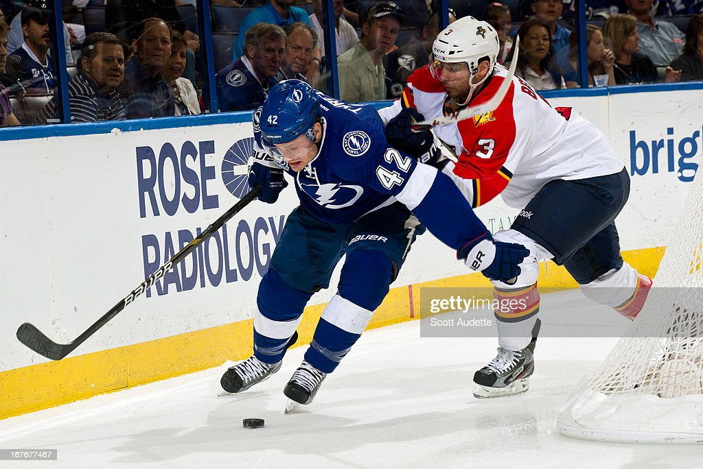 <a gi-track='captionPersonalityLinkClicked' href=/galleries/search?phrase=Dana+Tyrell&family=editorial&specificpeople=2129723 ng-click='$event.stopPropagation()'>Dana Tyrell</a> #42 of the Tampa Bay Lightning battles for position with T.J. Brennan #3 of the Florida Panthers during the first period of the game at the Tampa Bay Times Forum on April 27, 2013 in Tampa, Florida.