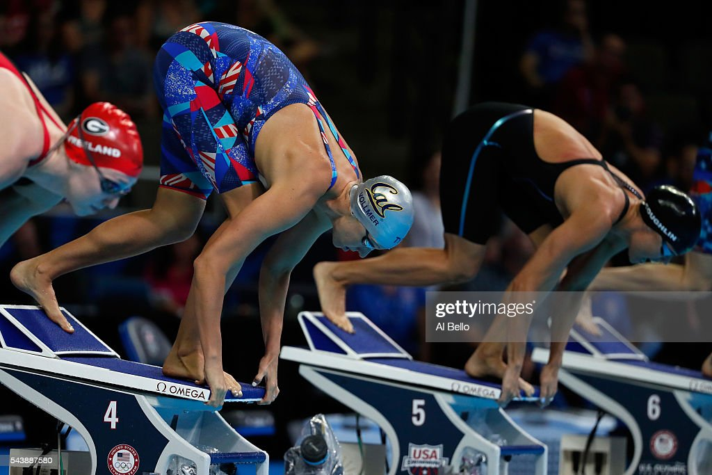 <a gi-track='captionPersonalityLinkClicked' href=/galleries/search?phrase=Dana+Vollmer&family=editorial&specificpeople=240582 ng-click='$event.stopPropagation()'>Dana Vollmer</a> and Natalie Coughlin of the United States dive in to compete in a heat for the Women's 100 Meter Freestyle during Day Five of the 2016 U.S. Olympic Team Swimming Trials at CenturyLink Center on June 30, 2016 in Omaha, Nebraska.