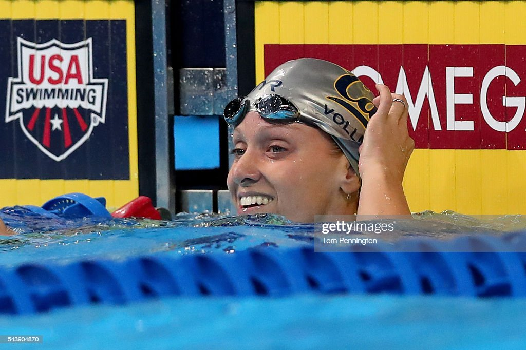 <a gi-track='captionPersonalityLinkClicked' href=/galleries/search?phrase=Dana+Vollmer&family=editorial&specificpeople=240582 ng-click='$event.stopPropagation()'>Dana Vollmer</a> of the United States smiles after competing in a heat for the Women's 100 Meter Freestyle during Day Five of the 2016 U.S. Olympic Team Swimming Trials at CenturyLink Center on June 30, 2016 in Omaha, Nebraska.
