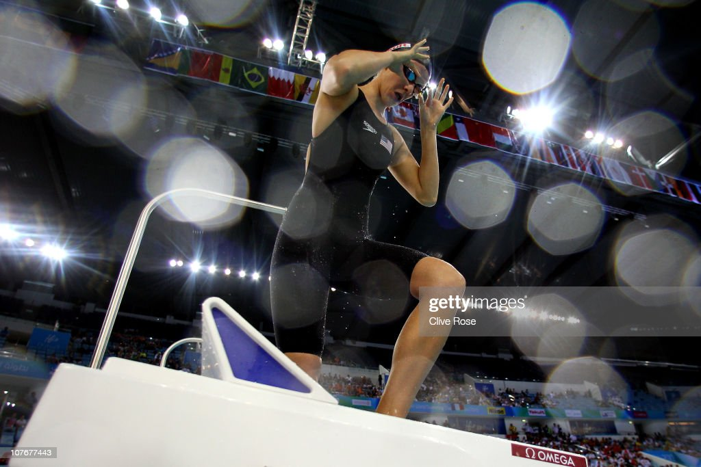 <a gi-track='captionPersonalityLinkClicked' href=/galleries/search?phrase=Dana+Vollmer&family=editorial&specificpeople=240582 ng-click='$event.stopPropagation()'>Dana Vollmer</a> of USA prepares to compete in the Women's 100m Butterfly semi final on day four of the 10th FINA World Swimming Championships (25m) at the Hamdan bin Mohammed bin Rashid Sports Complex on December 18, 2010 in Dubai, United Arab Emirates.
