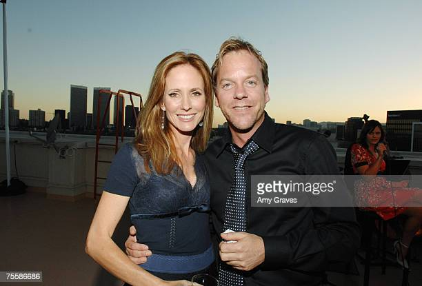 Dana Walden and Kiefer Sutherland attend the Producers and Stars Toast Party Hosted by Dana Walden and Gary Newman on July 18 2007 in Beverly Hills...