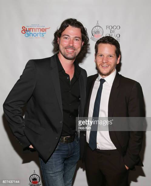 Dana Watkins and Graham Moore attend the OffBroadway opening night party for 'SUMMER SHORTS 2017' at Fogo de Chao Churrascaria on August 7 2017 in...