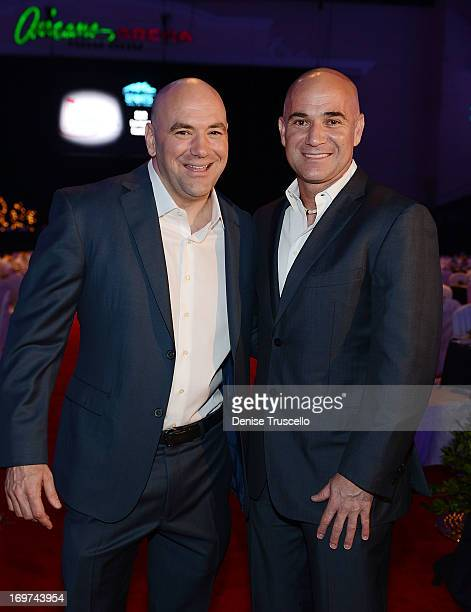 Dana White and Andre Agassi get inducted into the 2013 Southern Nevada Sports Hall of Fame at the Orleans Arena on May 31 2013 in Las Vegas Nevada