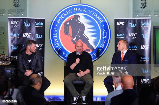 Dana White speaks to the media during the UFC 217 press conference with Michael Bisping and Georges StPierre at the Hockey Hall of Fame on October 13...