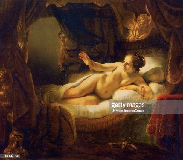 Danae' 1636 Oil on canvas Rembrandt van Rijn Dutch painter Danae welcoming Zeus who impregnated here with a shower of gold thus creating Perseus...