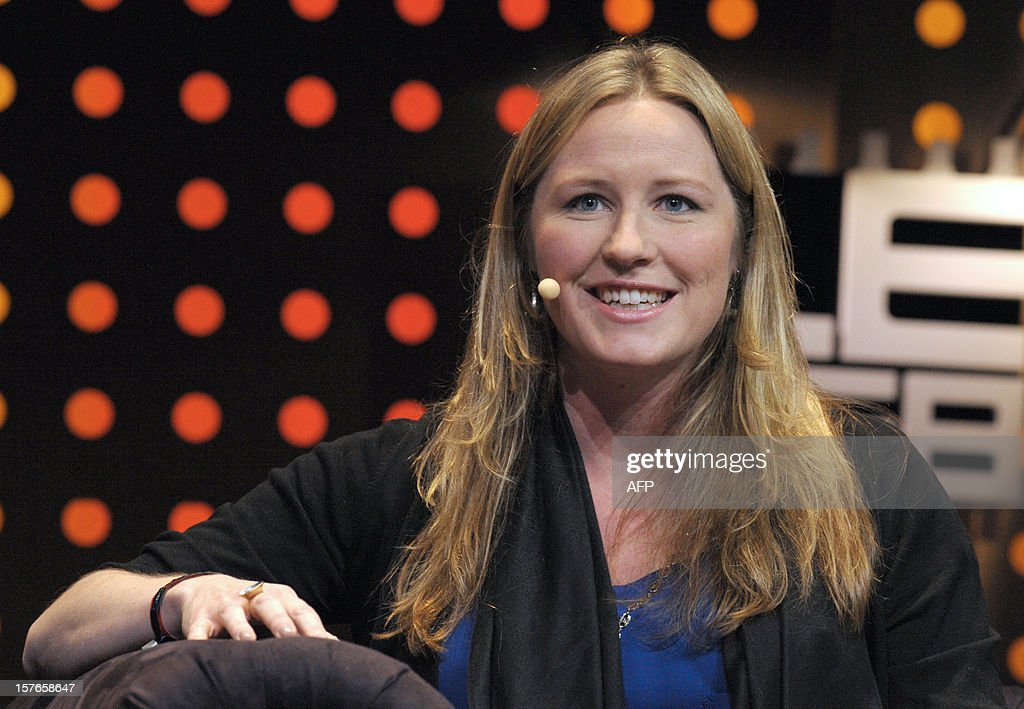US Danae Ringelmann, co-founder of Indiegogo, an Internet company that helps raise funds for small businesses, talks during a session at LeWeb Paris 2012 in Saint-Denis, near Paris on December 5, 2012. AFP PHOTO ERIC PIERMONT