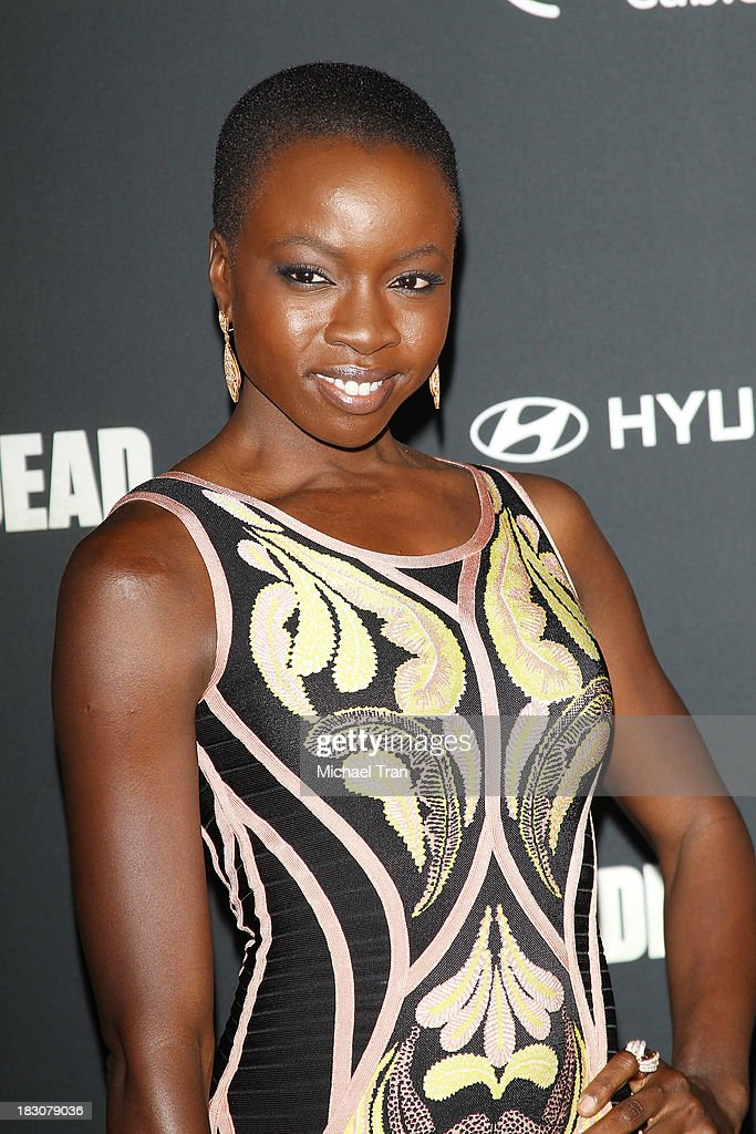 <a gi-track='captionPersonalityLinkClicked' href=/galleries/search?phrase=Danai+Gurira&family=editorial&specificpeople=4488413 ng-click='$event.stopPropagation()'>Danai Gurira</a> arrives at the Los Angeles premiere of AMC's 'The Walking Dead' 4th season held at Universal CityWalk on October 3, 2013 in Universal City, California.