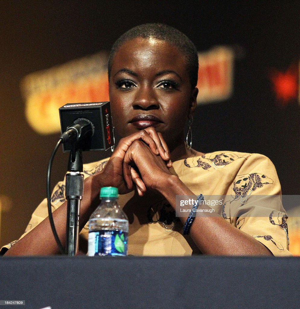 <a gi-track='captionPersonalityLinkClicked' href=/galleries/search?phrase=Danai+Gurira&family=editorial&specificpeople=4488413 ng-click='$event.stopPropagation()'>Danai Gurira</a> attends 'The Walking Dead' Panel at New York Comic Con at Jacob Javits Center on October 12, 2013 in New York City.